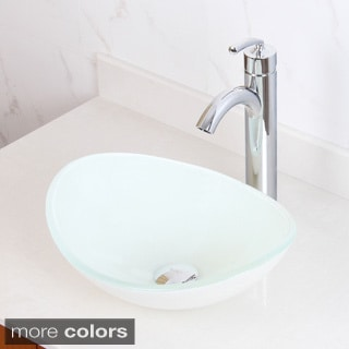 Elite 1420/ 882002 Tempered Glass White Oval Bathroom Vessel Sink and Faucet