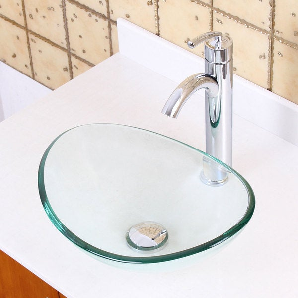 +882002 Unique Oval Transparent Tempered Glass Bathroom Vessel Sink ...