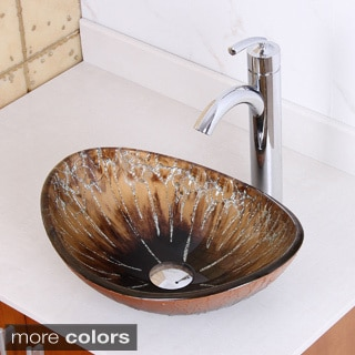Elite 1415/ 882002 Tempered Glass Bronze Oval Bathroom Vessel Sink and Faucet