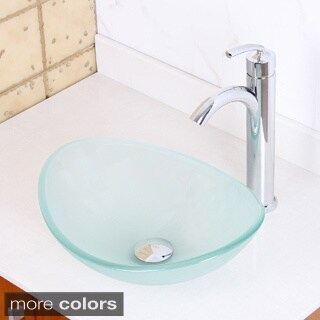 Elite 1416/ 882002 Frosted Tempered Glass Bathroom Vessel Sink and Faucet