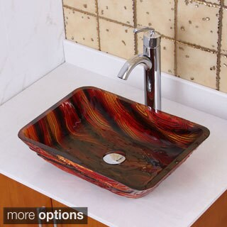 Elite 1419+882002 Lava Rock Rectangle Tempered Glass Bathroom Vessel Sink with Faucet