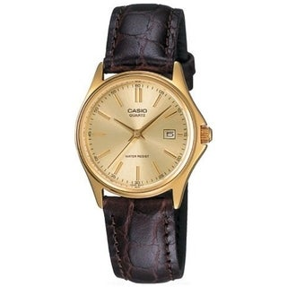 Casio Women's Core LTP1183Q-9A Gold Leather Quartz Watch