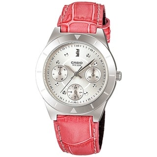 Casio Women's Core LTP2083L-4AV Silver Leather Quartz Watch