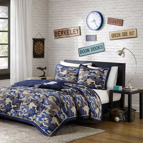 Mi Zone Andrew Blue 4-piece Coverlet Set