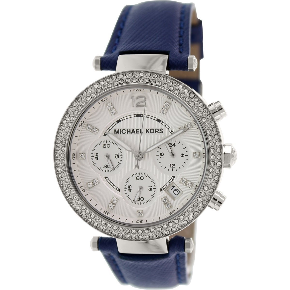 Michael Kors Womens  Parker Chronograph Crystal Blue Leather Watch MK2293