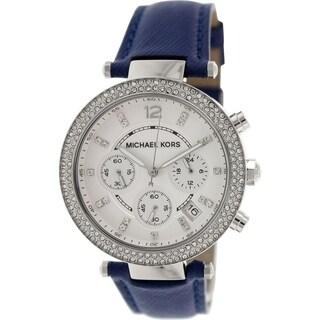 Michael Kors Women's MK2293 'Parker' Chronograph Crystal Blue Leather Watch