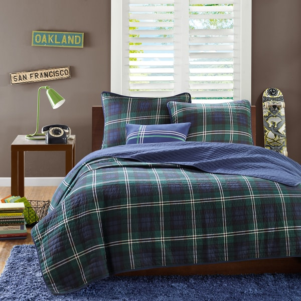 Mi Zone Cameron Blue Reversible Coverlet Set