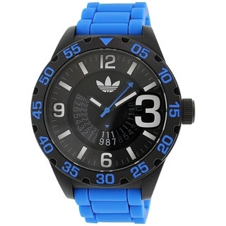 Adidas Men's Newburgh Black and Blue Rubber Quartz Watch