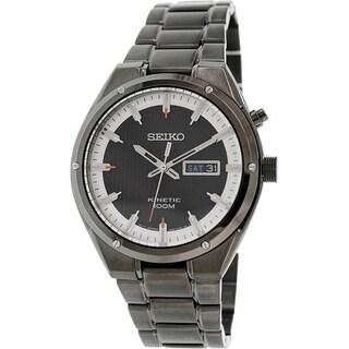 Seiko Men's SMY153 Black Brassplated Stainless Steel Seiko Kinetic Watch