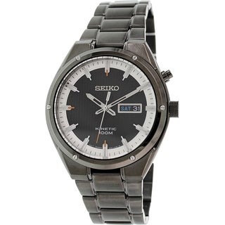 Seiko Men's SMY153 Black Brassplated Stainless Steel Seiko Kinetic Watch