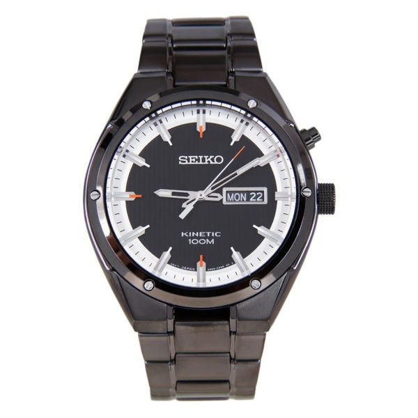 Seiko men 39 s smy153 black brassplated stainless steel seiko kinetic watch free shipping today for Movado kinetic
