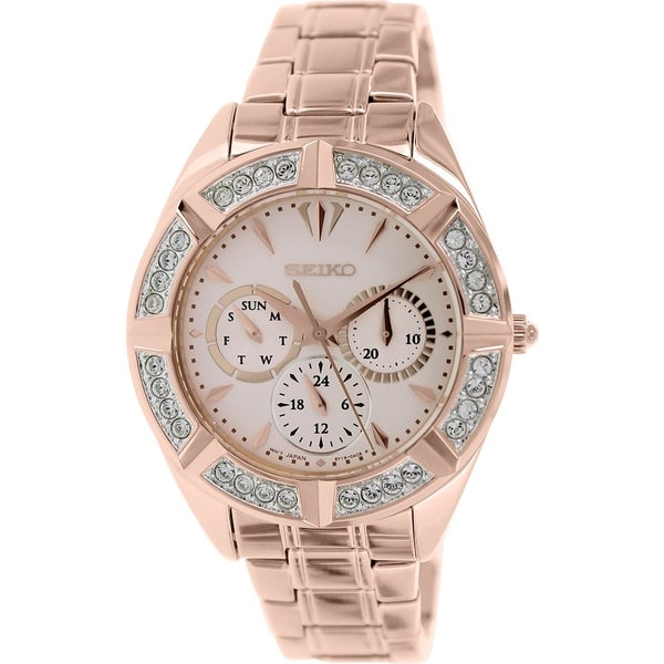 Shop Seiko Women S Rose Gold Stainless Steel Quartz Watch Free