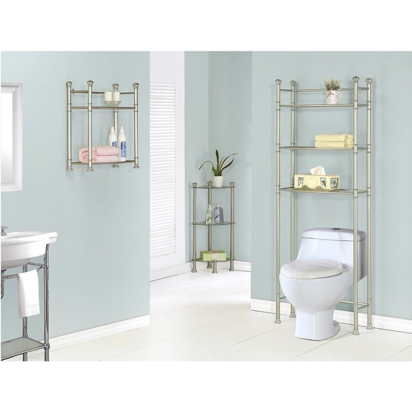 Brushed nickel bathroom shelves - Satin Nickel Metal 26 Inch Tempered Glass Wall Mount 2 Tier Shelf