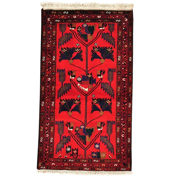 Hand Knotted Persian Wool Area Rug 5 10: Persian Hamadan Oriental Red Hand-knotted Wool Area Rug (3