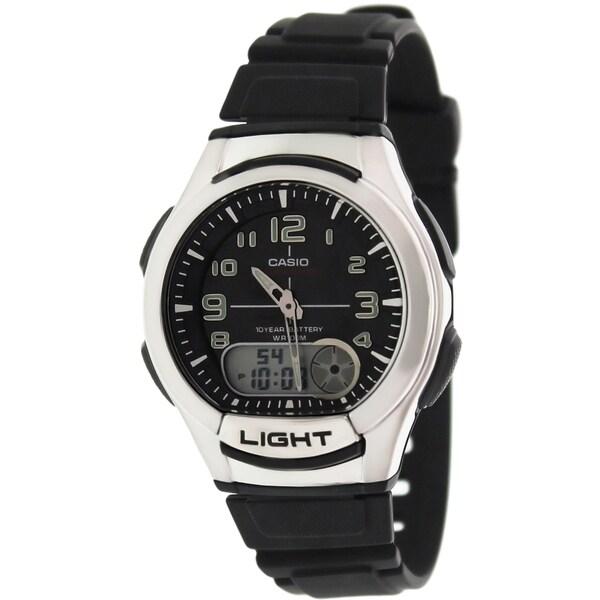3556c8bdc Shop Casio Men's AQ-180W-1BV 'Ana-Digi' Analog-Digital Black Rubber Watch - Free  Shipping Today - Overstock - 9758831