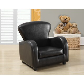 Dark Brown Leather Look Juvenile Club Chair