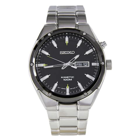 Seiko Men's Silver Stainless-Steel Seiko Kinetic Watch