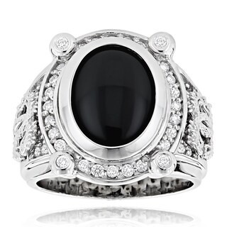 14k Gold Men's 5/8ct TDW Diamond and Black Onyx Ring
