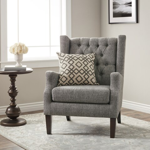 Stones & Stripes Maxwell Grey Tufted Wingback Chair
