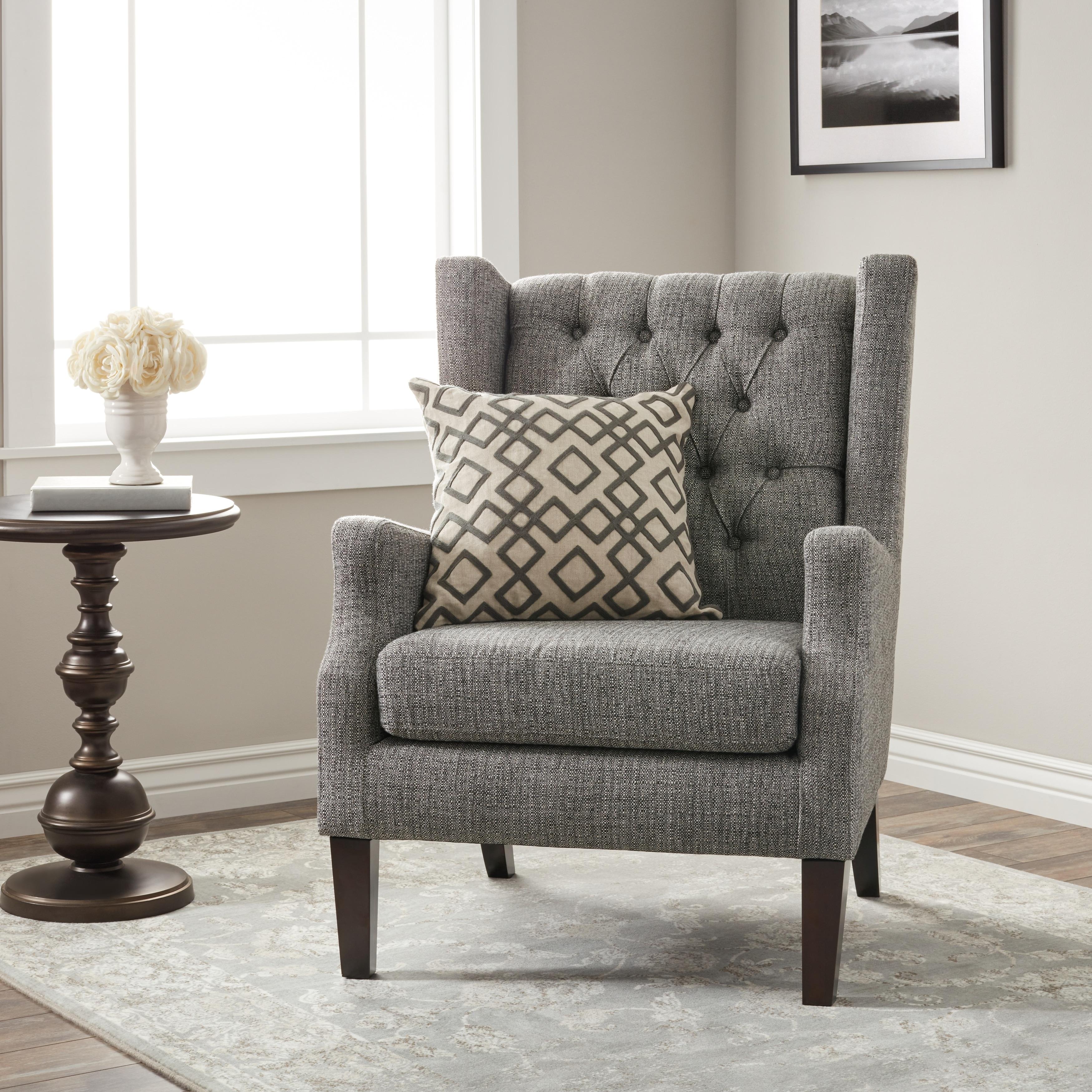 Stones U0026 Stripes Maxwell Grey Tufted Wingback Chair