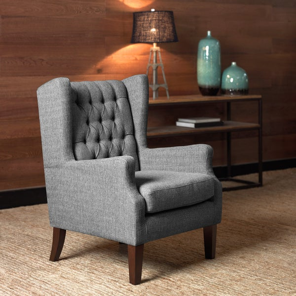 Maxwell Gray Tufted Wingback Chair Part 56