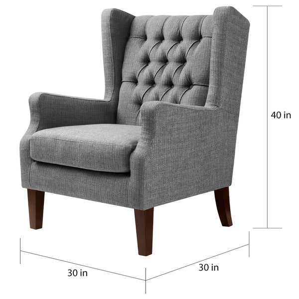 Maxwell Gray Tufted Wingback Chair Free Shipping Today 16930941
