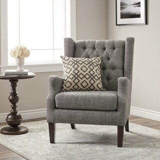 Stones U0026 Stripes Maxwell Grey Tufted Wingback Chair
