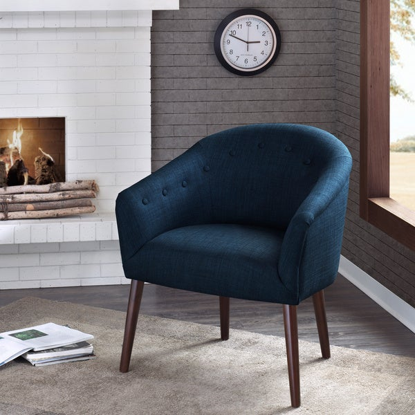 camilla mid century navy blue accent chair free shipping today