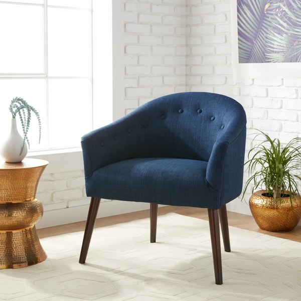 Captivating Carson Carrington Camilla Mid Century Navy Blue Accent Chair