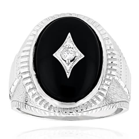 Men's 14k Gold Black Onyx and 1/10ct TDW Diamond Ring (H-I, SI1-SI2)