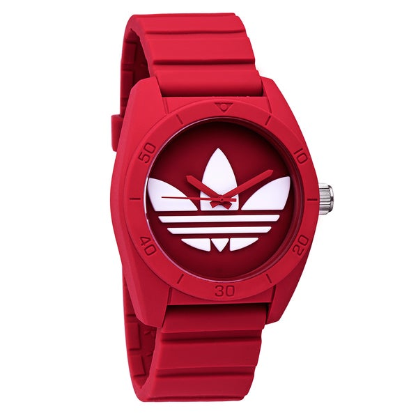 d3fdc8a0ce6e Shop Adidas Santiago ADH6168 Red Rubber Quartz Watch - Free Shipping ...
