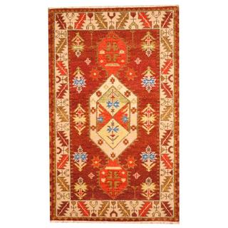 Herat Oriental Indo Hand-knotted Tribal Kazak Burgundy/ Green Wool Rug (3'1 x 5')