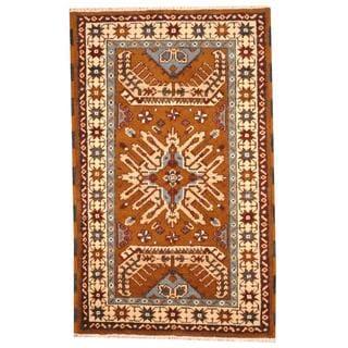 Herat Oriental Indo Hand-knotted Tribal Kazak Brown/ Blue Wool Rug (3' x 5')