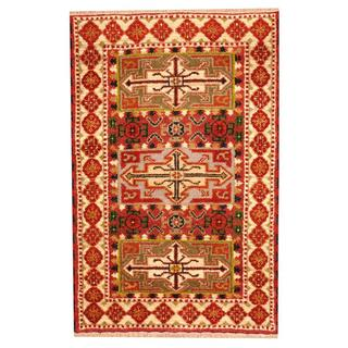 Herat Oriental Indo Hand-knotted Tribal KazakRed/ Ivory Wool Rug (3'3 x 4'10)