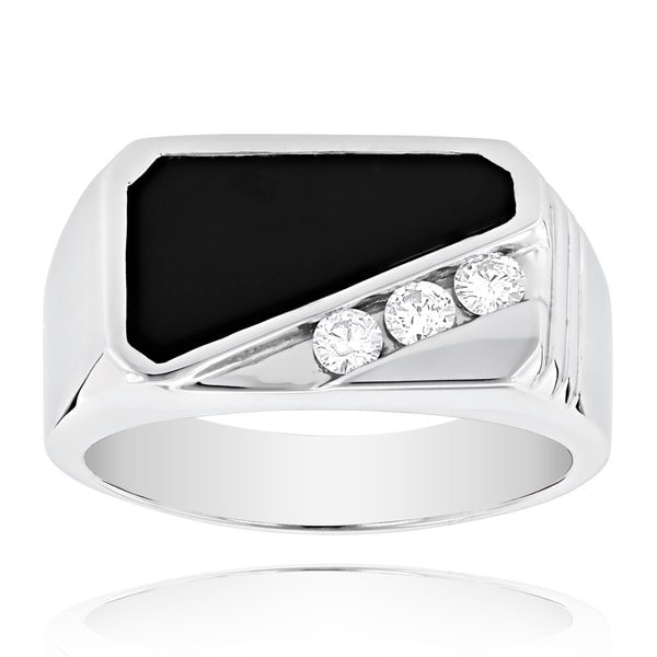 14k Gold Men's Black Onyx and 1/3ct TDW Diamond Ring (H-I, SI1-SI2)