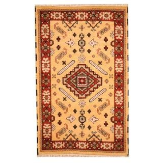 Herat Oriental Indo Hand-knotted Tribal Kazak Gold/ Burgundy Wool Rug (3'2 x 5')