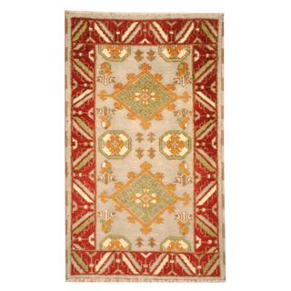 Herat Oriental Indo Hand-knotted Tribal Kazak Light Blue/ Rust Wool Rug (3' x 5')