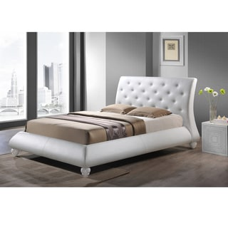 Baxton Studio Metropolitan Wood and White Leather Contemporary Queen-Size Bed
