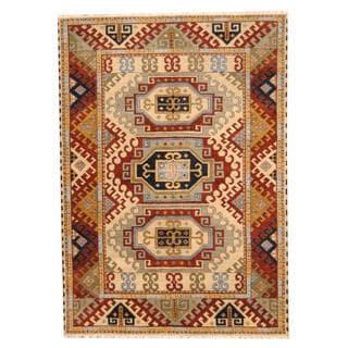 Herat Oriental Indo Hand-knotted Tribal Kazak Beige/ Rust Wool Rug (5'7 x 8')