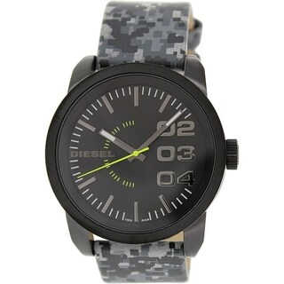 Diesel Men's Double Down Black Multi Leather Quartz Watch