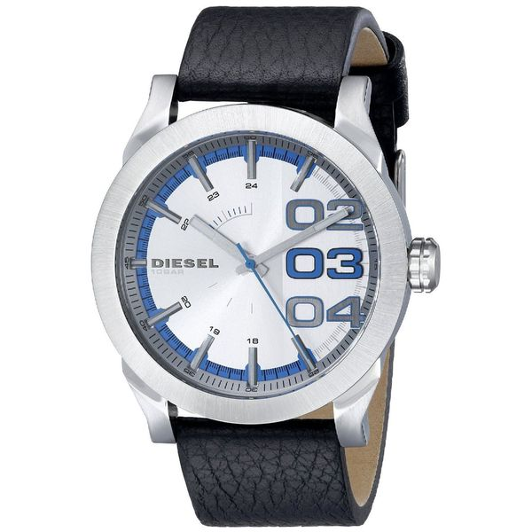 Diesel Men's Double Down DZ1676 Black Leather Quartz Watch. Opens flyout.