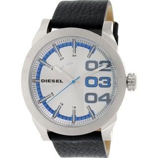 Diesel Men's Double Down DZ1676 Black Leather Quartz Watch