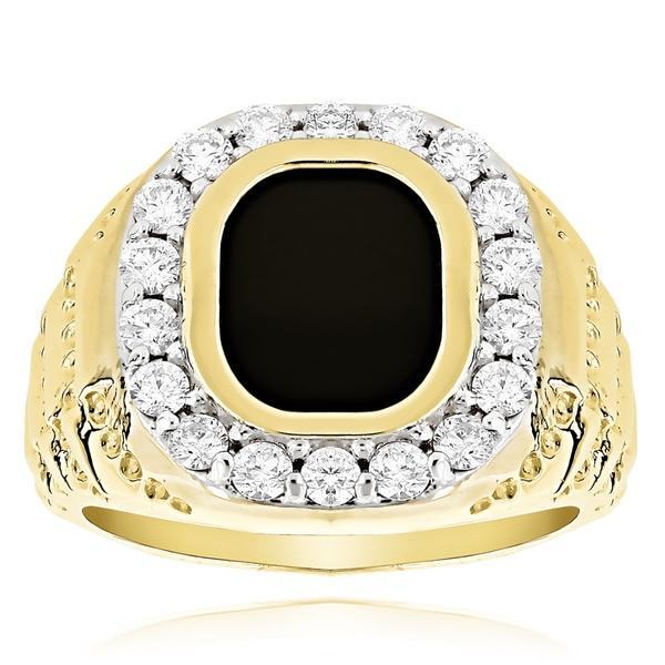 14k gold men 39 s 1 1 2ct black onyx diamond ring g h si1
