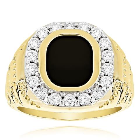 14k Gold Men's 1 1/2ct Black Onyx Diamond Ring (G-H, SI1-SI2)