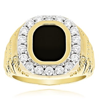 14k Gold Men's 1 1/2ct Black Onyx Diamond Ring (G-H, SI1-SI2)