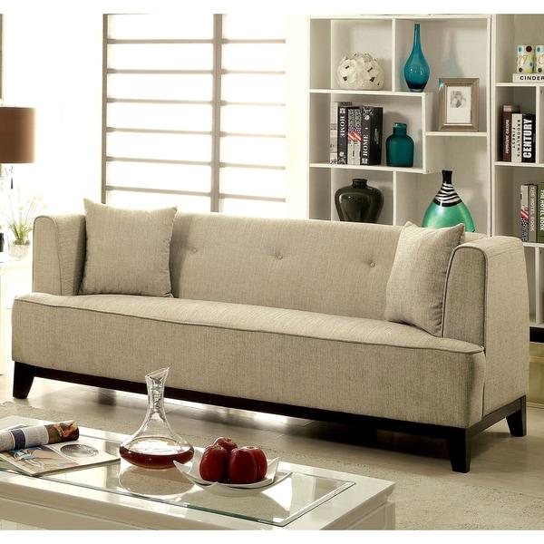 Slipcover Tuxedo Sofa: Shop Furniture Of America Esmone Modern Tuxedo Linen Sofa