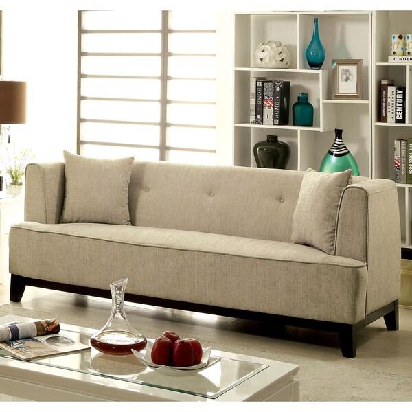 Furniture of America Esmone Modern Tuxedo Microfiber Sofa