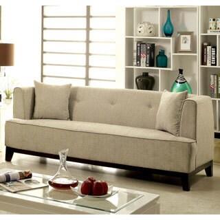 Furniture of America Esmone Modern Tuxedo Linen Sofa