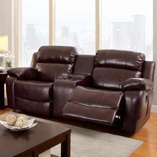 Furniture of America Menezi Brown Bonded Leather Reclining Loveseat with Console