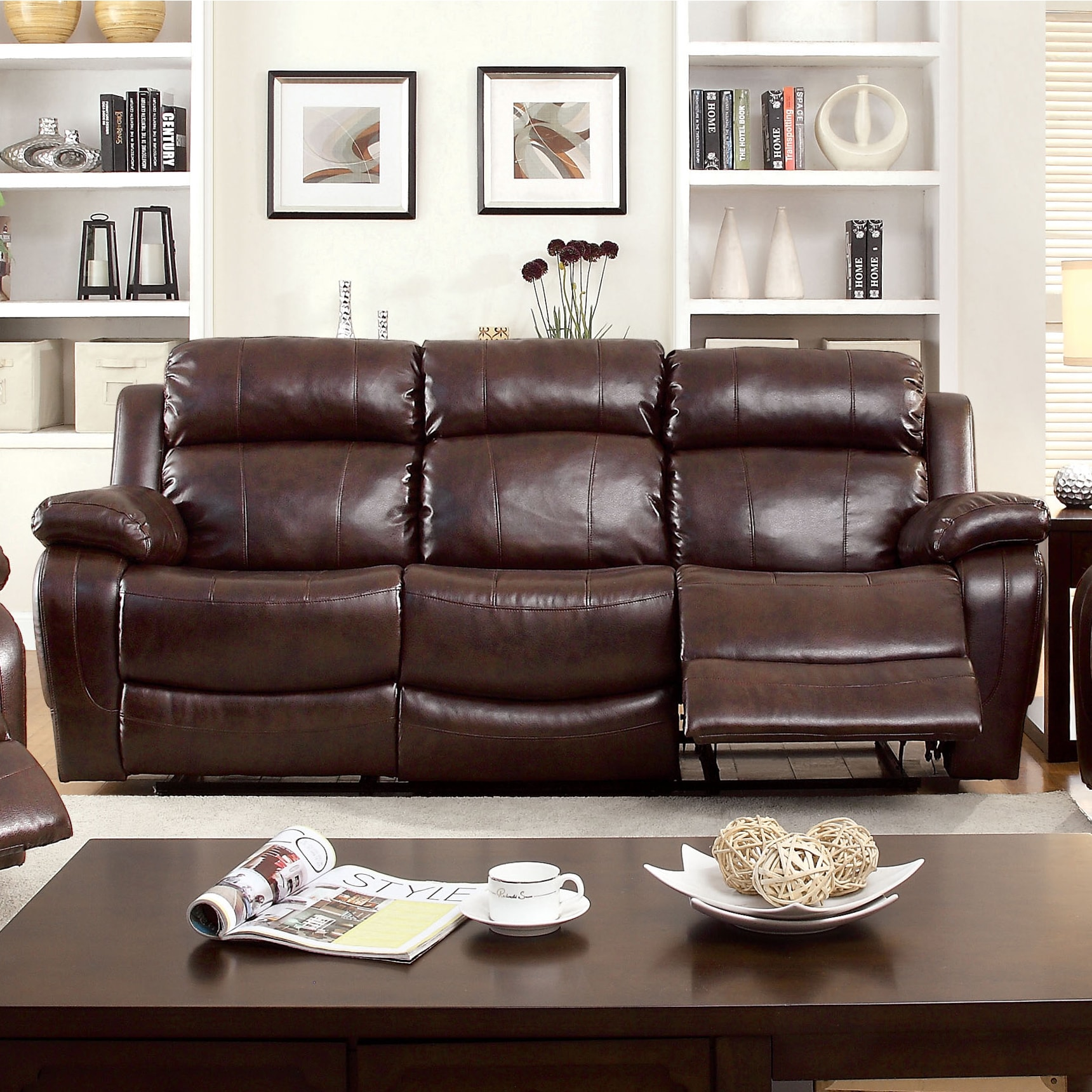 Furniture of America Menezi Brown Bonded Leather Reclinin...